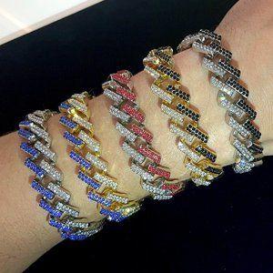 Mens Iced Out Cuban Link Chain Diamond CZ Bracelet
